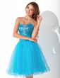 A-Line/Princess Sweetheart Knee-Length Tulle Sequined Homecoming Dress With Beading (022009298)
