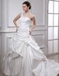 Balo Elbisesi Tek-Omuzlu Şapel Kuyruk Satin Gelinlik Ile Büzgü Boncuklama Aplike Çiçek(ler) (002012104)