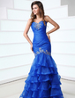 Trumpet/Mermaid Sweetheart Floor-Length Organza Prom Dress With Beading Cascading Ruffles (018017318)