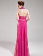 Sheath/Column Halter Floor-Length Chiffon Lace Evening Dress With Ruffle Beading (017019755)
