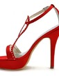 Women's Satin Stiletto Heel Pumps Sandals With Buckle Rhinestone (047039662)