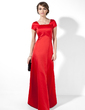 A-Line/Princess Square Neckline Floor-Length Satin Evening Dress With Ruffle (017039555)