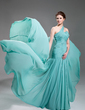 A-Line/Princess One-Shoulder Court Train Chiffon Evening Dress With Ruffle Beading Appliques Lace (017019733)