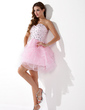 A-Line/Princess Sweetheart Short/Mini Organza Homecoming Dress With Beading Cascading Ruffles (022020580)