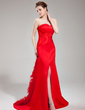 Trumpet/Mermaid Sweetheart Court Train Satin Evening Dress With Feather Split Front (017019568)