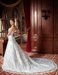 A-Line/Princess Sweetheart Cathedral Train Lace Wedding Dress With Beading (002000544)