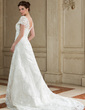 A-Line/Princess Square Neckline Court Train Organza Wedding Dress With Lace Beading (002012689)