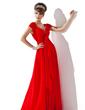 Çan/Prenses V Yaka Uzun Etekli Chiffon Gelin Annesi Elbisesi (008013794)