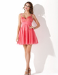 A-Line/Princess Sweetheart Short/Mini Tulle Homecoming Dress With Beading Sequins (022020626)