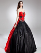 Ball-Gown Scalloped Neck Sweep Train Satin Quinceanera Dress With Beading Appliques Lace Sequins (021015696)