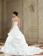 Ball-Gown Strapless Chapel Train Satin Wedding Dress With Ruffle Beading Appliques Lace Bow(s) (002000589)
