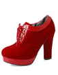 Suede Chunky Heel Ankle Boots With Lace-up shoes (088054677)