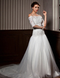 A-Line/Princess Strapless Chapel Train Tulle Wedding Dress With Ruffle Lace Beading (002012172)