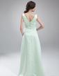 Empire V-neck Floor-Length Satin Satin Maternity Bridesmaid Dress With Ruffle Beading (045020325)