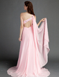 A-Line/Princess One-Shoulder Sweep Train Chiffon Prom Dress With Ruffle Beading Split Front (018015684)