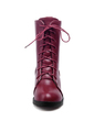 Leatherette Low Heel Ankle Boots With Lace-up shoes (088056734)