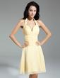 A-Line/Princess Halter Knee-Length Chiffon Homecoming Dress With Ruffle Beading (022014971)