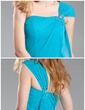Sheath/Column One-Shoulder Short/Mini Chiffon Bridesmaid Dress With Beading Cascading Ruffles (007019647)