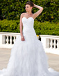 A-Line/Princess Sweetheart Chapel Train Taffeta Tulle Wedding Dress With Ruffle Beading Appliques Lace (002004542)