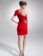 Sheath/Column One-Shoulder Short/Mini Chiffon Cocktail Dress With Ruffle Beading Bow(s) (016008433)