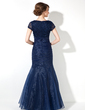 Trumpet/Mermaid V-neck Floor-Length Organza Mother of the Bride Dress With Ruffle Beading Sequins (008005656)