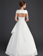 A-Line/Princess Off-the-Shoulder Floor-Length Satin Wedding Dress With Ruffle Beading Flower(s) Sequins (002015669)