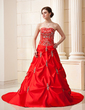 Ball-Gown Sweetheart Chapel Train Satin Wedding Dress With Embroidered Ruffle Beading Sequins (002004587)