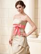 A-Line/Princess Strapless Court Train Satin Wedding Dress With Ruffle Sash Beading Bow(s) (002019538)