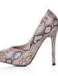 Leatherette Stiletto Heel Pumps Platform Closed Toe With Animal Print shoes (085017490)