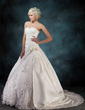 Ball-Gown Sweetheart Chapel Train Satin Wedding Dress With Ruffle Beading Appliques Lace Flower(s) (002000435)