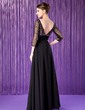 A-Line/Princess Scoop Neck Floor-Length Chiffon Mother of the Bride Dress With Beading Sequins (008018940)