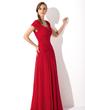 Linia A/Księżniczka Kwadratowy Dekolt Do Podłogi Chiffon Suknia dla Mamy Panny Młodej Z Żabot Perełki (008006086)