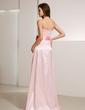 A-Line/Princess Strapless Sweep Train Charmeuse Bridesmaid Dress With Sash Beading Bow(s) (007020732)