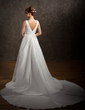 A-Line/Princess Scoop Neck Watteau Train Taffeta Wedding Dress With Ruffle (002011646)