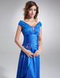 A-Line/Princess Off-the-Shoulder Floor-Length Charmeuse Mother of the Bride Dress With Ruffle Beading Sequins (008006296)