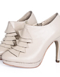 Leatherette Cone Heel Platform Closed Toe Ankle Boots With Ruffles shoes (088020650)