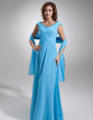 A-Line/Princess Off-the-Shoulder Floor-Length Chiffon Mother of the Bride Dress With Ruffle Lace (008006115)