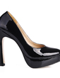 Patent Leather Chunky Heel Pumps Platform Closed Toe shoes (085020559)