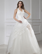 Ball-Gown Halter Floor-Length Satin Organza Tulle Wedding Dress With Beading Flower(s) (002015456)