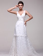 A-Line/Princess V-neck Chapel Train Lace Wedding Dress With Beading (002016108)