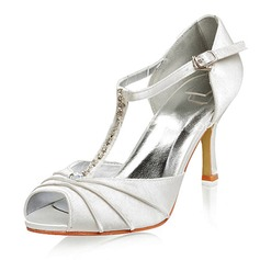 Women's Satin Stiletto Heel Peep Toe Sandals With Buckle Rhinestone