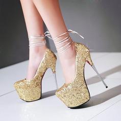 Femmes Pailletes scintillantes Talon stiletto Escarpins Plateforme Bout fermé avec Dentelle chaussures