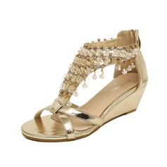 Couro Plataforma Sandálias Bombas Peep toe com Strass sapatos