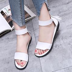 Kvinner Lær Flat Hæl Flate sko Titte Tå med Glidelås sko