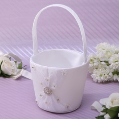 Beautiful/Elegant Flower Basket in Satin With Rhinestones