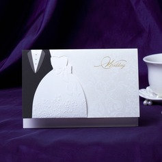 Bride & Groom Style Top Fold Invitation Cards (Set of 50)