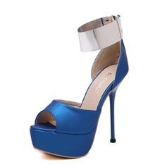 Women's Leatherette Stiletto Heel Sandals Platform Peep Toe With Zipper shoes