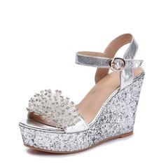 Femmes Vrai cuir Talon compensé Sandales Compensée Beach Wedding Shoes avec Boucle Strass