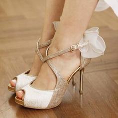 Femmes Pailletes scintillantes Talon stiletto À bout ouvert Plateforme Sandales Beach Wedding Shoes