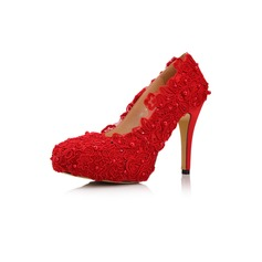Women's Satin Stiletto Heel Closed Toe Platform With Rhinestone Flower